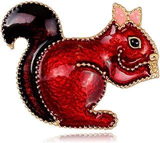 WEDFTGF - Broche de ardilla esmaltado con diseño de animales, para mujer, para bufanda, regalos