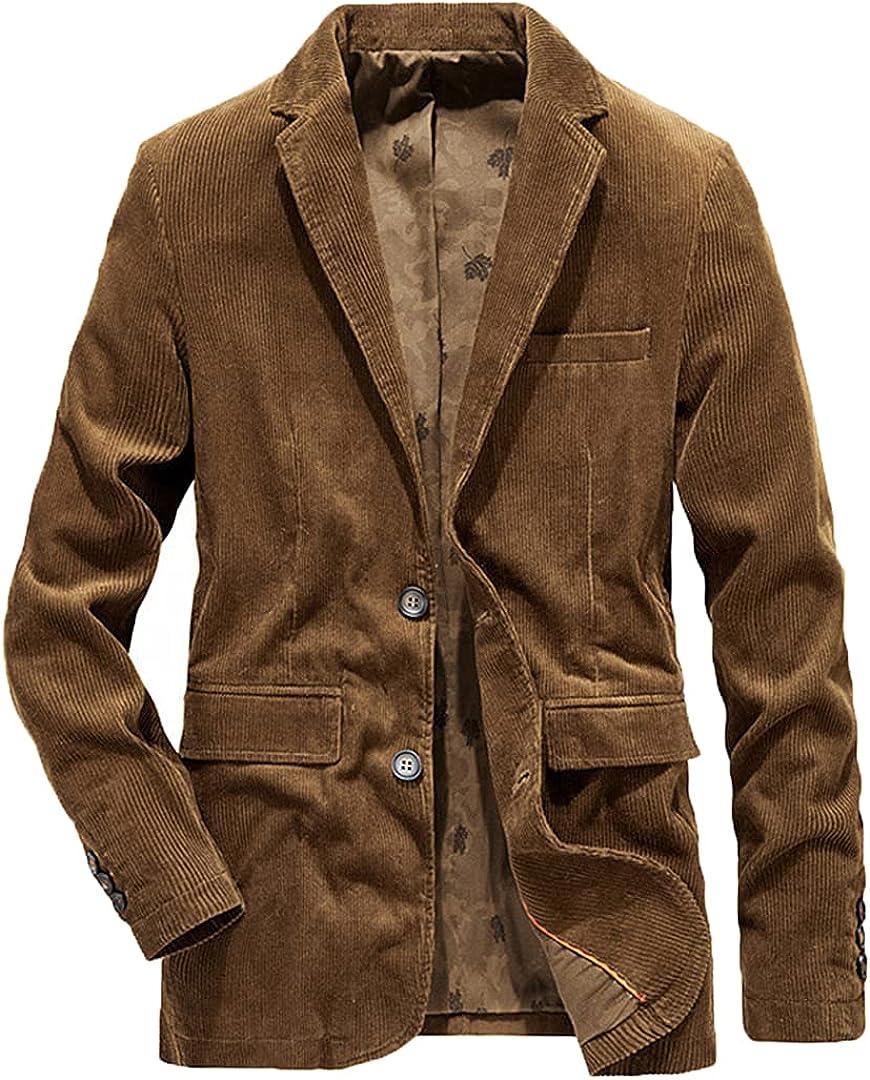 Men's Business Casual Corduroy Coffee Blazer Blue Khaki Slim Suits Coats
