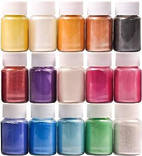 DEWEL 15er×10ml Epoxidharz Farbe, Metallic Farbe Resin Pulverfarbe Seifenfarbe Pigmentpulver Mica Pulver Powder zur Farbherstellung für DIY, Jede Farbe ca. 10g