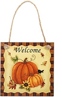 EBTOYS Thanksgiving Hanging Wall Decoration Wooden Hanging Plaque Sign Pumpkin Welcome Sign Happy Harvest Sign Thanksgiving Door Hanger Home Outdoor Thanksgiving Decorations