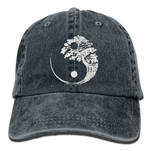 Men's/Women's Adjustable Cotton Denim Baseball Cap Yin Yang Bonsai Tree Plain Cap
