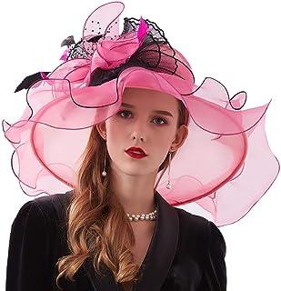 YiyiLai Women Organza Summer Sun Hat Folding Derby Cap Fascinator Headband