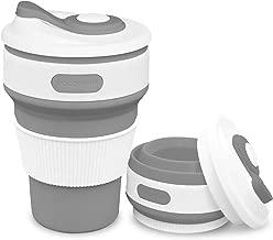 Plegable Taza, plegado de café taza de viaje de silicona a prueba de fugas taza regalo taza 350 ML 100% de calidad alimentaria sin BPA para Camping senderismo (gris)