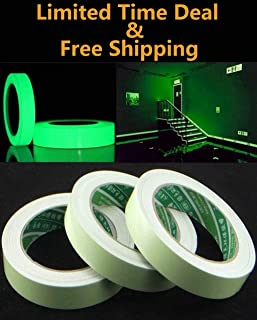 Glow in the Dark Tape - 12 ft x 0.4 inch - Glow-in-the-Dark Luminous photoluminescent / luminescent emergency roll safety egress markers stairs, walls, steps, exit sign.Glowing pro theatre stage floor