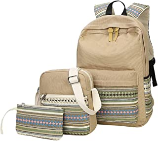 Cooralledtooere National Wind Backpack Canvas Leisure Backpack,Leisure Travel Three-Piece Backpack Diagonal Package (Color : Khaki, Size : 30 * 14 * 42cm)