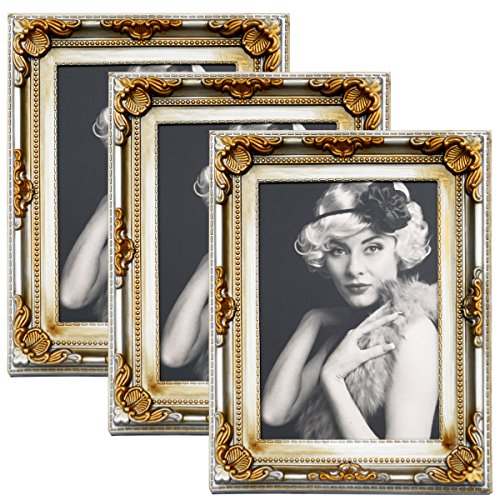 WOLTU 3er Packung Bilderrahmen 13x18cm Bild Rahmen Foto Galerie Bilder Collage Plastik Barock Gold/Silber,BR9752-3