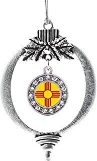 Inspired Silver - New Mexico Flag Charm Ornament - Silver Circle Charm Holiday Ornaments with Cubic Zirconia Jewelry