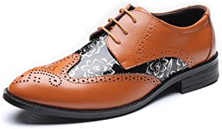 Aomoto Men's Brogue Loafer Shoes Wingtip Hollow Carving Splice Smooth Flower Pattern PU Leather Lace Up Lined Oxfords UP to 10.5UK