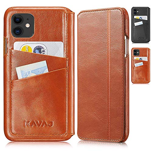 KAVAJ Case Compatible With Apple iPhone 12 Mini 5.4' Leather - Dallas - Cognac Brown Wallet Folio Cover with card holder