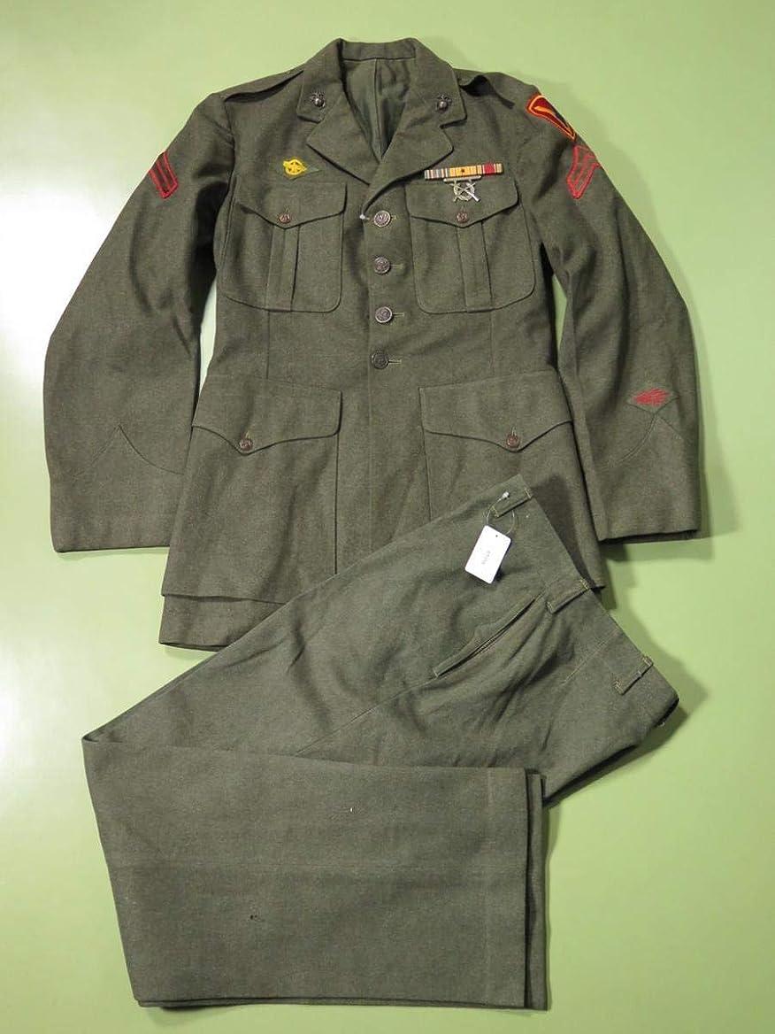 花婿満員ばか米軍実物 USMC オフィサーユニフォーム 上下セット 5L 1940年代中期製