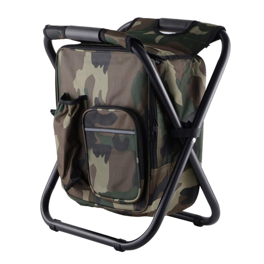 Renzhe Hiking Camouflage Seat Table Bag Camping Gear for Outdoor Indoor Fishing Travel Beach BBQ Folding Camping Chair Stool Backpack with Cooler Insulated Picnic Bag