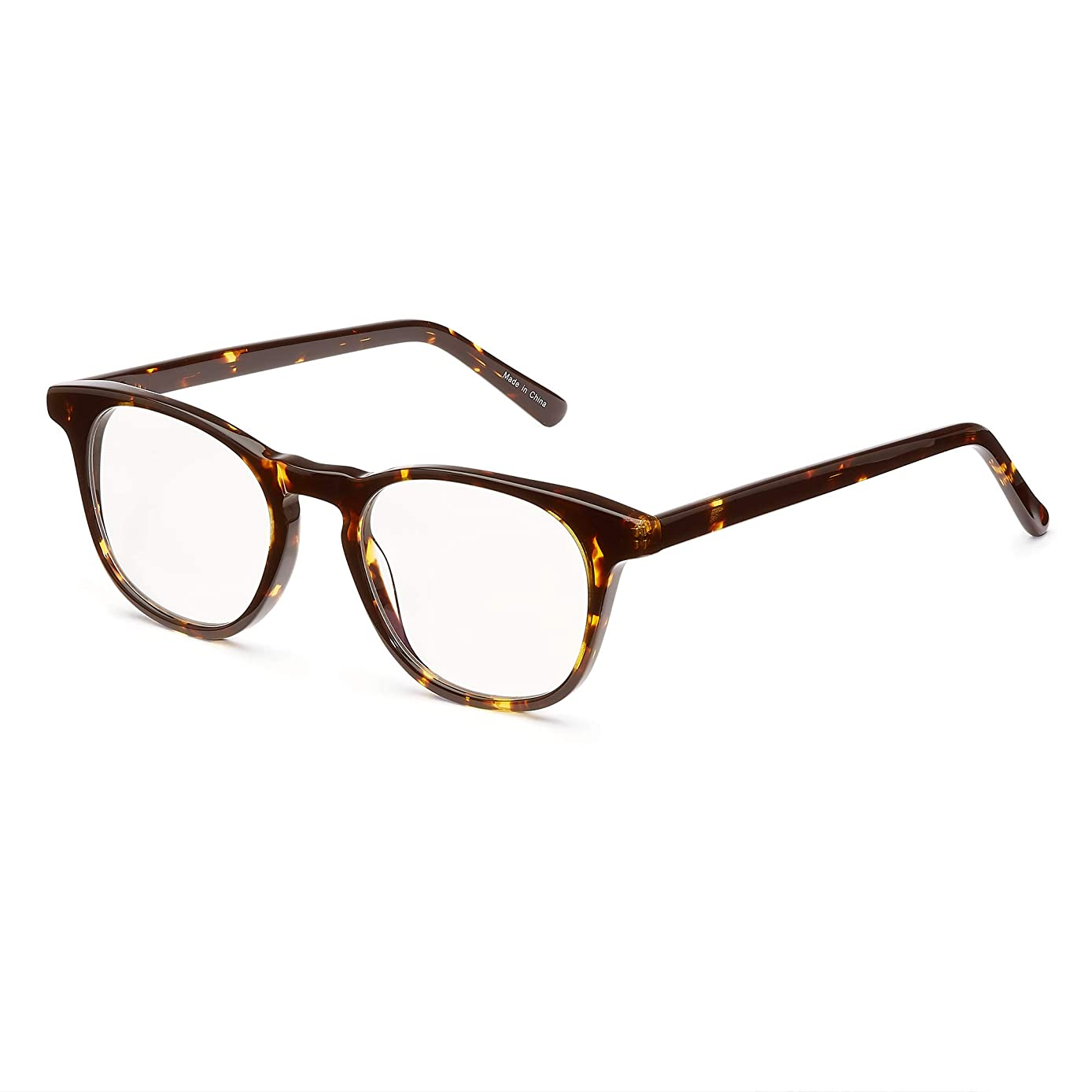 KPI Blue Light Blocking Glasses - Acetate Frame and Lenses - No Yellow or Blue Tint - Fashionable - Professional - (Tortoise)
