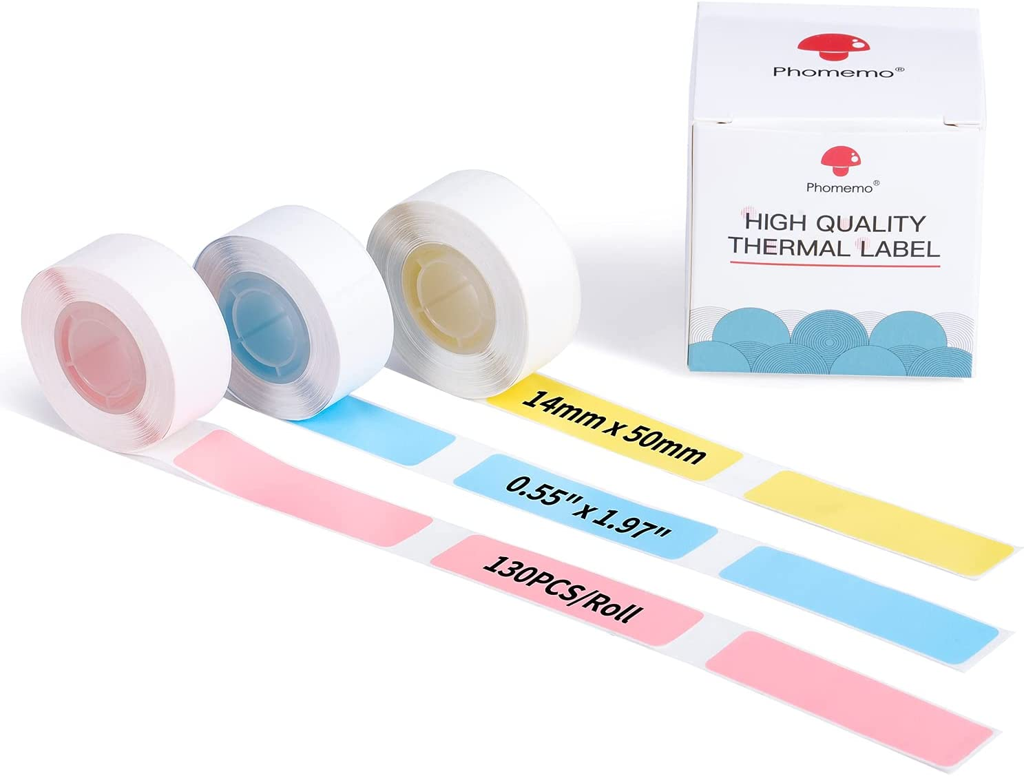 D30 Color Thermal Labels - Blue/Pink/Yellow Thermal Label Roll D30 Label Tape 14mm x 50mm (0.55in x 1.96in) Compatible with Memoking/Phomemo D30 Printer, 130 Labels/Roll