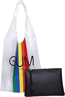 GUM , Damen Schultertasche Schwarz Nero Matt Pochette: 36 x 18 cm Shopper: 37 x 34 cm