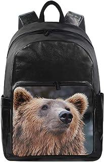 MONTOJ Animal Brown Bear Mochila de viaje de lona unisex mochila escolar mochila