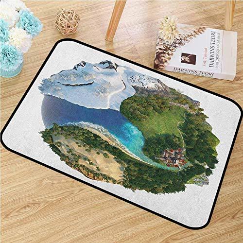 N/A 3D-tryck dörrmatta jorden universell dörrmatta konceptuell glob olika naturliga landskap isig frusen grön och karmig platser dörrmatta golv intressanta dekorationer
