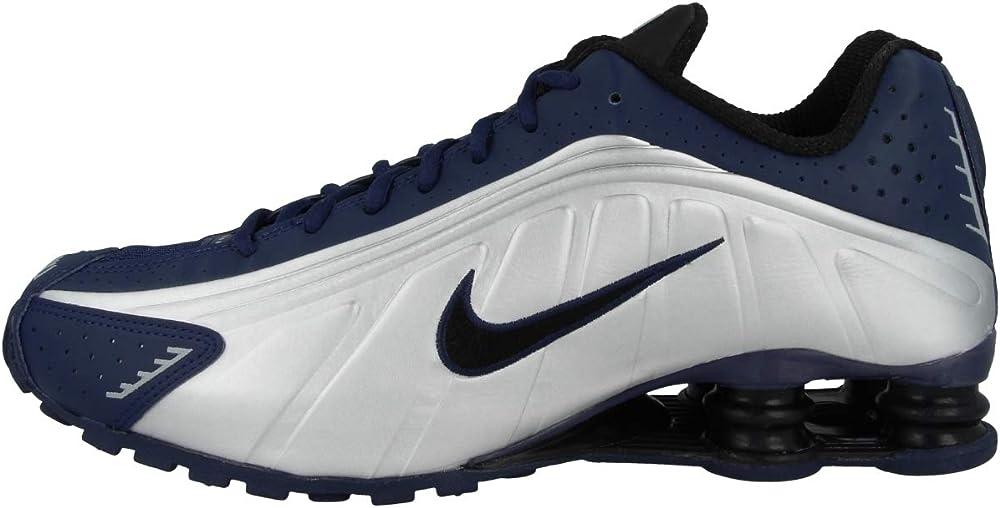 Nike shox r4 midnight navy/black ,scarpe da uomo sneakers,in in tessuto e pelle 104265-405