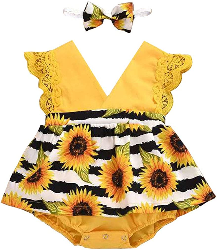 Baby Girl Sunflower Outfit Lace Sleeve Dress Same day shipping NEW + S Romper Headband