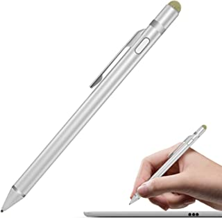 MoKo Universal Active Stylus Pen, Capacitive Fine Point Touch Screen Tablets Stylus Pencil Fit with Apple iPad, iPad Mini/Air/Pro, iPhone, Samsung Galaxy, Touchscreen Devices & Smartphones - Silver