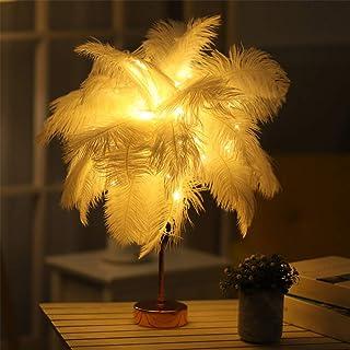 Lámpara de mesa moderna de plumas de avestruz, para dormitorio, mesita de noche, luz de noche, sala de estar, decoración de boda, color blanco