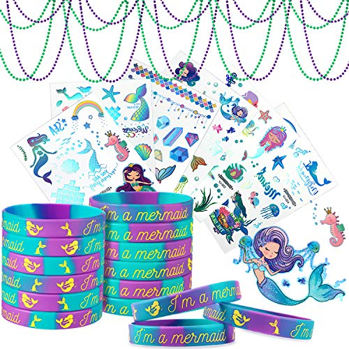 36 Pieces Mermaid Bracelets Tattoos Bead Necklaces Set, Includes 24 Pieces Mermaid Silicone Wristband 6 Sheets Mermaid Temporary Tattoos 6 Pieces Bead Necklaces for Kids Under the Sea Party Favors
