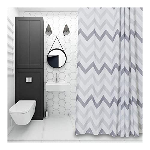 Wet Room Shower Curtains >> White And Grey Shower Curtain Amazon Co Uk