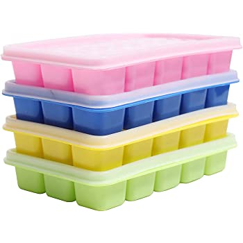 glace moule Silicone Ice Cube Tray W Couvercle 6 cubes Salade de stocker la Congélation des aliments pour bébés