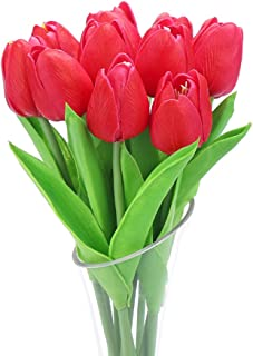 DECORA 10Pcs/Bag PU Holland Mini Tulip Artificial Flower Real Touch for Wedding,Home,Party Decoration (Red)