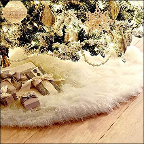 CHBOP 78 CM Arbre De Noël Jupe De Vacances Pur Blanc en Peluche Faux De Fourrure Ornements De Noël Décoration De Sapin De Noël pour la Décoration De Noël