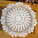 Ganchillo kilofly encaje de algodón manteles, 4 pc, margarita, 34,8 cm, algodón, blanco, 14 Pulgadas