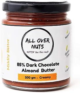 All Over Nuts 85% Dark Chocolate Almond Butter, 200 gm Creamy (Stone Ground, Gluten Free, Vegan)