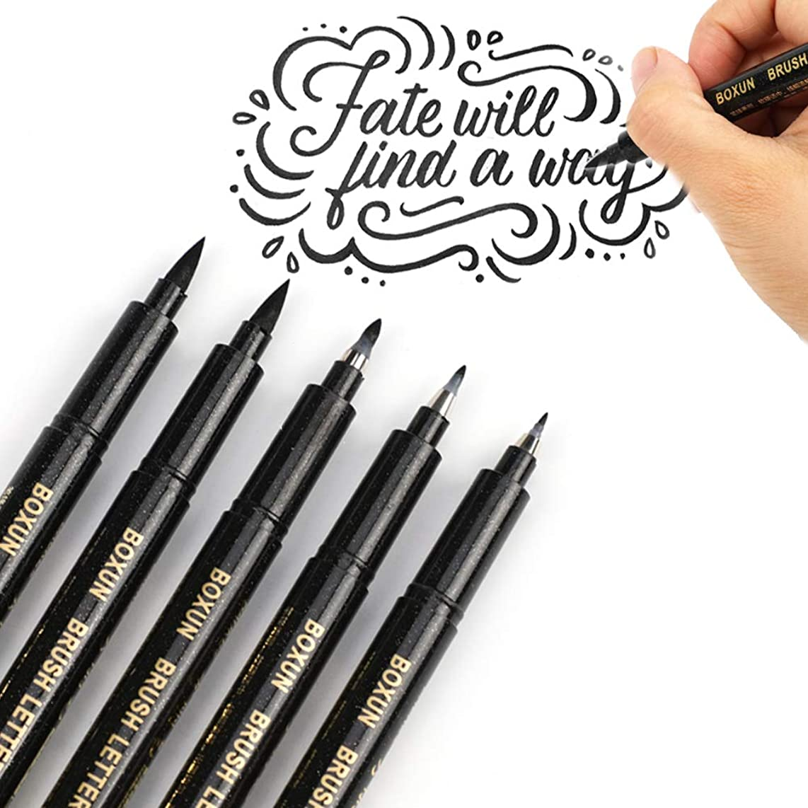 Calligraphy Brush Pen for Hand Lettering - 4 Size (5/Pack), Refillable Black Ink Marker Pen for Beginners Writing, Art Drawings, Illustrations, Bullet Journal