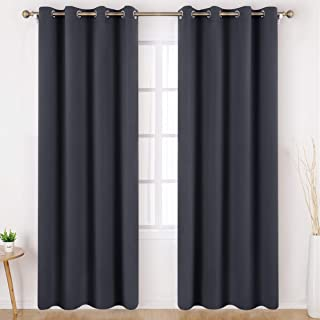 HOMEIDEAS Dark Grey/Gray Blackout Curtains Wide 52 X 84 inches Long Set of 2 Panels Room Darkening Curtains/Drapes, Thermal Insulated Grommet Window Curtains for Bedroom & Living Room
