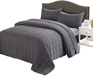 EMME Quilt Set Full/Queen 3-Piece Reversible (90''x90'') Bedspread for All Season Enzyme Washed Coverlet Set Hypoallergeni...