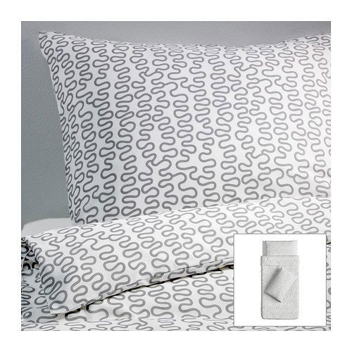 IKEA Bettwäsche-Set KRAKRIS 155x220 WEIß/GRAU