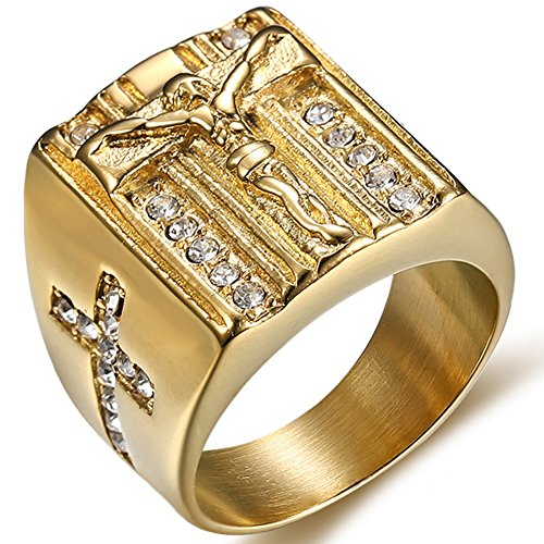 Jude Jewelers Stainless Steel Christian Jesus Cross Ring (Gold, 11)