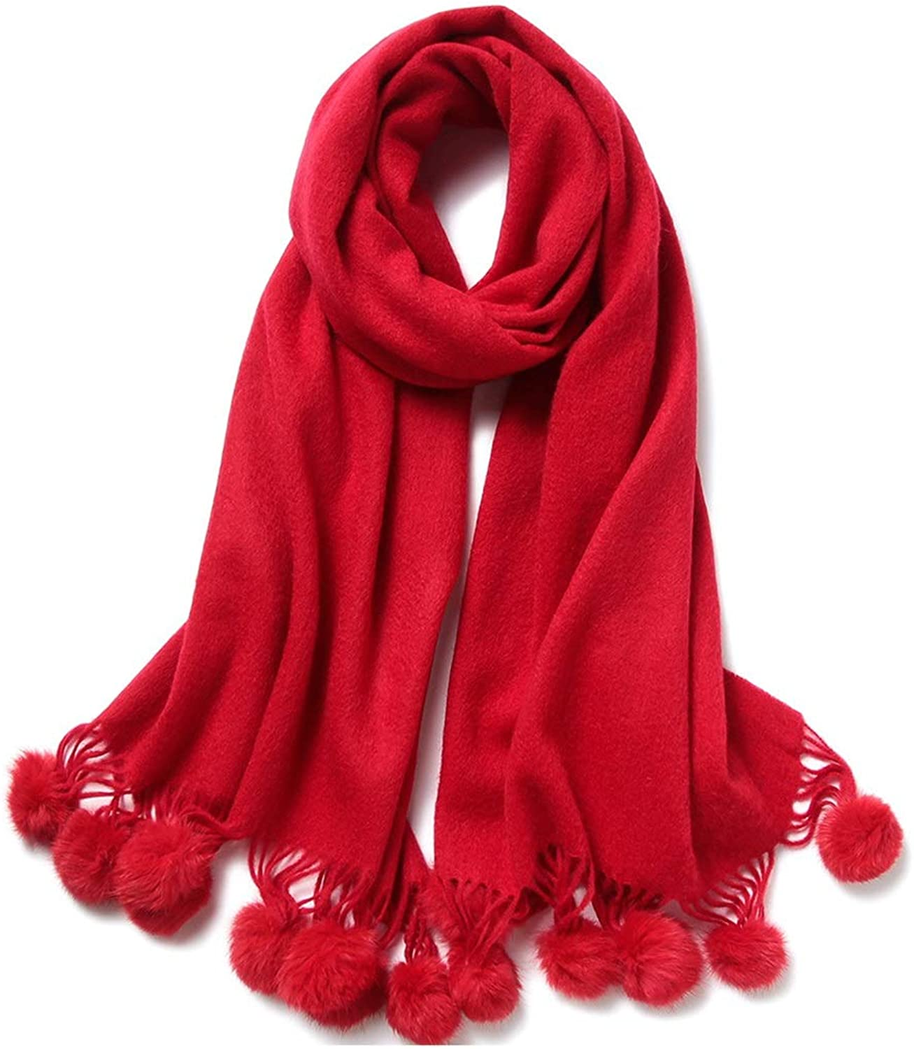 CEFULTY Wool Scarf Women Europe and The United States Style Pure color Hanging Ball Warm Shawl for Women (color   Red, Size   70cm180cm)