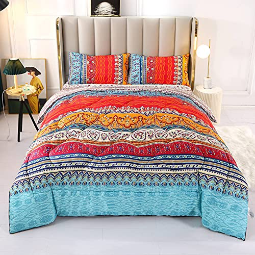 ENCOFT Bohemian Chic Floral Comforter Sets 3 Pieces Full/Queen Size , Colorful Boho Stiped Comforter Bedding Sets with Pillowcases