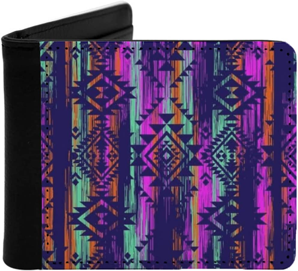 Mens Womens Slim Wallet,multicolor tribal vector seamless navajo pattern with grunge,With ID Window Money Clip RFID Blocking Bifold Credit Card Holder Front Pocket
