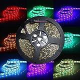 Kit bande lumineuse flexible 300LED 5050 RGB 24V DC 5m Étanche Lumière ultra brillante Décoration pour intérieur ou...