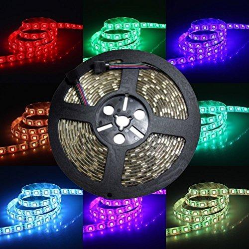 Kit bande lumineuse flexible 300 LED 5050 RGB 24 V DC 5 m Étanche Lumière ultra brillante Décoration pour intérieur ou extérieur Multicolore