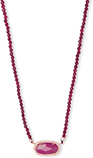 Elisa Rose Gold Beaded Pendant Necklace in Maroon Jade