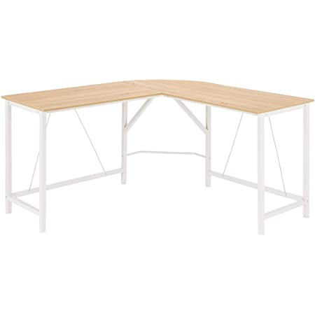 Amazon Basics L-Shape Office Corner Desk, 55-Inch, Natural
