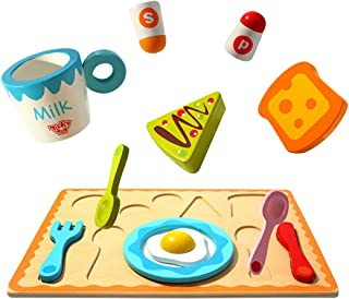 WEY&FLY Childrens Wooden Play Food Set, Breakfast Set with Toast, Eggs, Milk, Tray & More! Wood Play & Pretend Food Breakfast Set