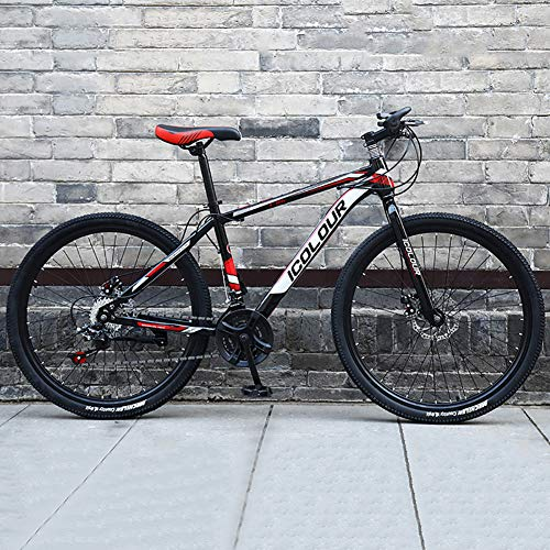 TOPYL High-Carbon Steel Hardtail Mountain Bike,Men's Mountain Bikes,Mountain Bicycle with Adjustable Memory Foam Seat Black and Red 24',21-Speed