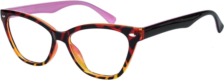 AMILLET Womens Cateye Glasses Frame Printed Tortoise Pink Eyewea