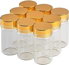 12units 25CC Empty Jars Glass Bottle with Aluminium Golden Color Screw Cap 25ml Sealed Liquid Food Gift Container (12, 25ML-Golden Lid)