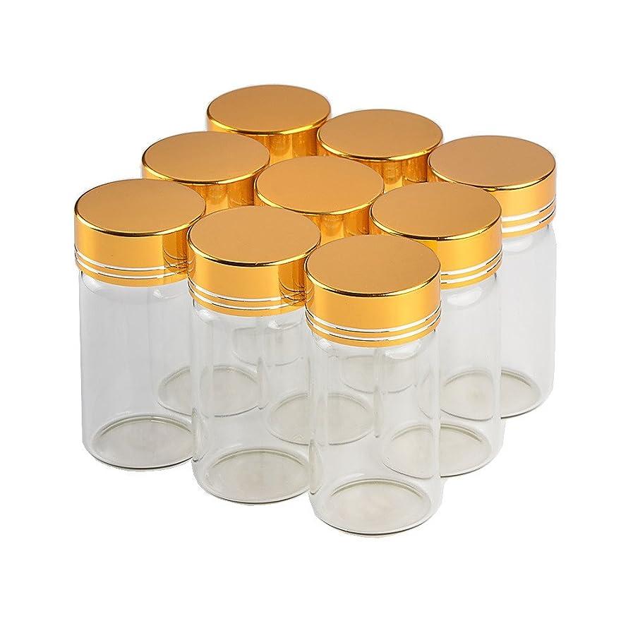 庭園外部興奮するJarvials無料配送12個セット25mlゴールドカバー 蓋 ガラス瓶,絶妙で美しい DIYホリデーギフト結婚式の装飾小さな贈り物最良の選択,茶の葉 ふんまつ キャンディ えきたい とうがらし調味料貯蔵し (25ml, ゴールデン)