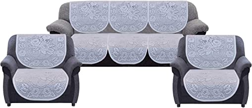 """Kuber Industries Self Cotton 5 Seater Sofa Cover, 70"""" x 29"""", Set of 6, White"""