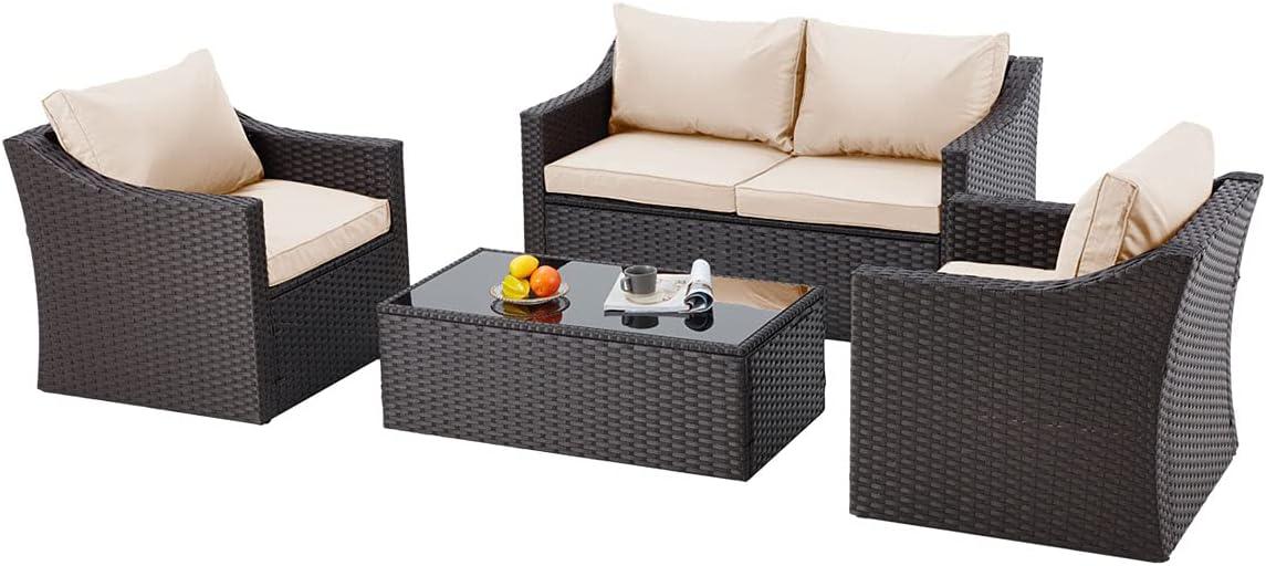 EROMMY 4 Pcs Patio Furniture Sets El Paso Mall Retro Rattan Rare Wicker PE Convers